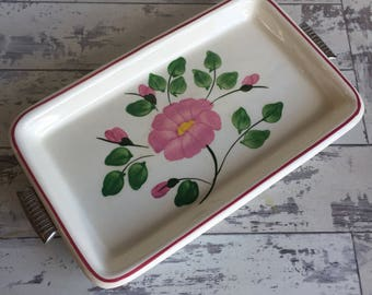 Vintage Clinchfield Cash Family Blue Ridge Pottery Serving Tray - with Silverplate Rack - Rare Rock Rose Pattern