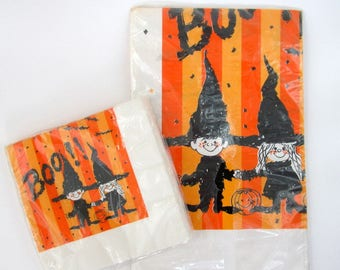 Vintage Witch Tablecloth & Napkins, Vintage 70's Paper Tablecloth, Halloween Crepe Tablecloth, Halloween Tablecloth, Napkins, Witch Pumpkin