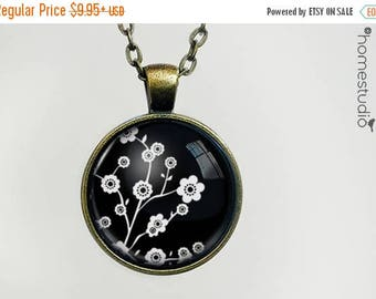 ON SALE - Cherry Blosssoms (BLK) : Glass Dome Necklace, Pendant or Keychain Key Ring. Gift Present metal round art photo jewelry by HomeStud