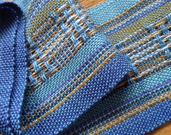 handwoven cornflower blue lightweight scarf