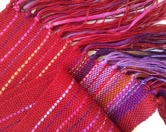 handwoven scarf in a luscious red blend