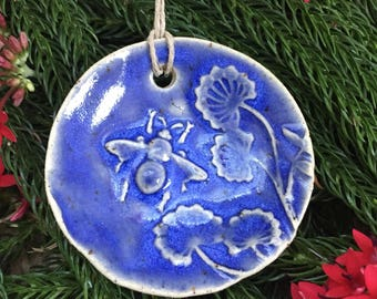 Ceramic Bee Christmas Ornament - Honey Bee with Flower Ornament