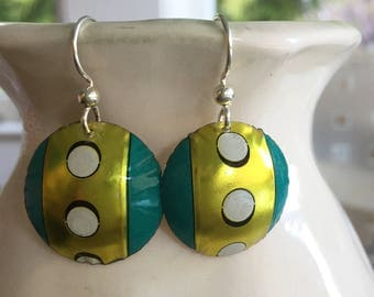 Sweet polka dot earrings made from recycled tins.  Sterling Silver wires.  Super lightweight.