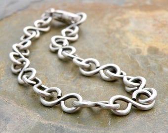 Figure 8 Link Bracelet, Sterling Silver Chain Bracelet, Layering Bracelet, Infinity Links Bracelet, Oxidized Sterling Silver #4637
