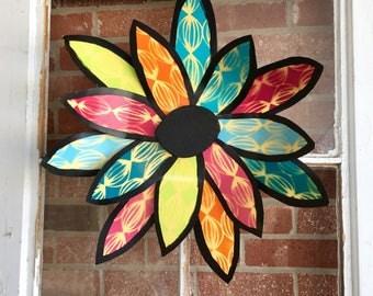 Metal flower wreath, door decor, easter door hanger, spring door hanger