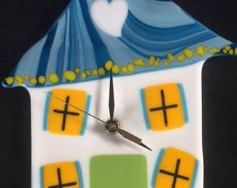 Whimsical House Fused Glass Wall Clock
