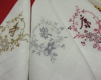 6 Vintage White Hankies Initial Handkerchiefs 3 Mens Large Hankys 3 Ladies Hankies