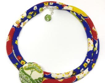 Kimono Cord Necklace - Apple Green, Royal Blue and Ruby Florals