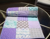 Baby Quilt, Teal,Grey, Purple, Aqua, patchwork Crib Quilt, Handmade Baby Girl Bedding Quilt, Chevron Quilt, lavender, toddler,Purple Passion