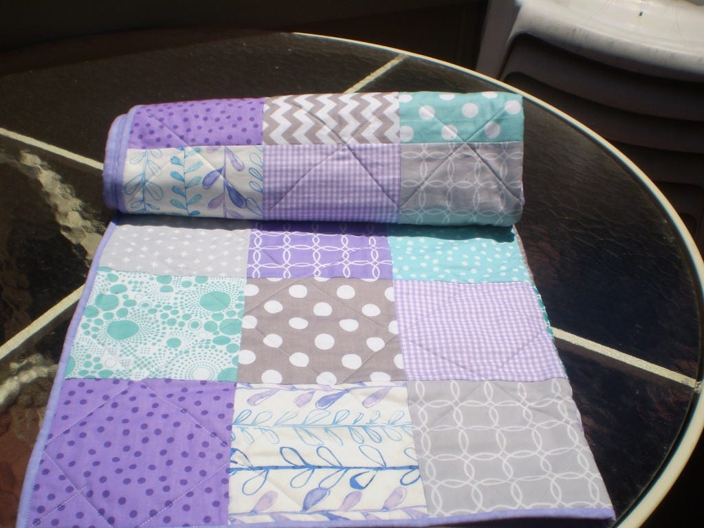 Gold crib for sale - Baby Quilt Teal Grey Purple Aqua Patchwork Crib Quilt Handmade Baby Girl Bedding Quilt Chevron Quilt Lavender Toddler Purple Passion