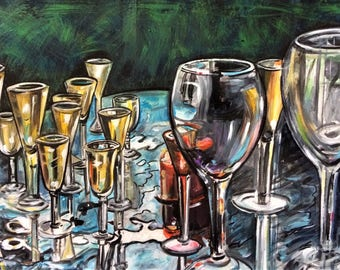 Wall Art - Original Acrylic Painting - Cheers - Glasses - Still Life - Leah Reynolds