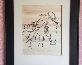 Horse Painting Pearlescent Watercolor and Acrylic original wall art