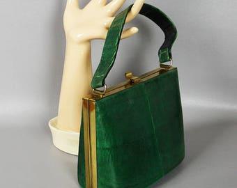 Vintage 1950s Handbag Green Lizard Box Purse