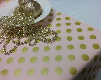 PINK GOLD DOT Linens- Table Runner or Napkins -or Placemats -Centerpiece Rounds, Squares , Gold metallic polka dots on pink,  bridal