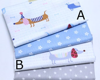 4699 - Dachshund Dog, Flower & Star Cotton Fabric - 62 Inch (Width) x 1/2 Yard (Length)