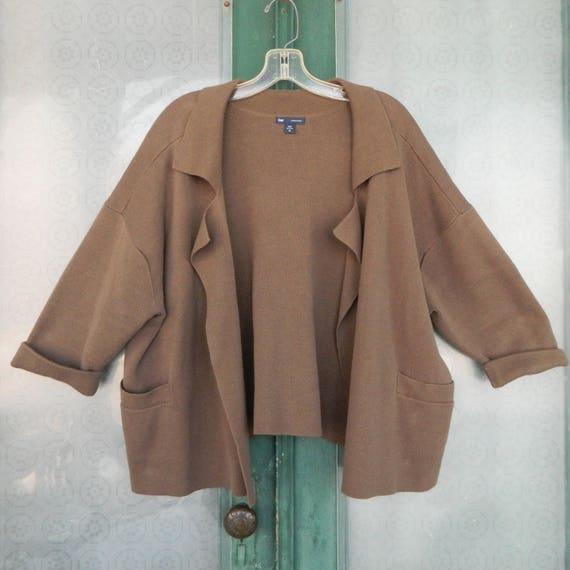 Gap 3/4 Sleeve Cardigan Sweater -XL- Brown Cotton Knit