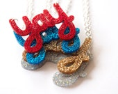 Yay Necklace, Laser Cut Glitter Acrylic, Party Necklace, Fun Necklace, Kids Necklace,  Made in Brighton, UK