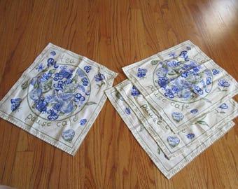 Set of 4 vintage French cotton napkins tea cafe fruit pattern