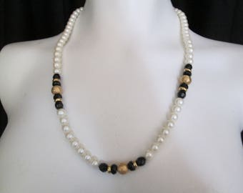 Iridescent white faux pearl black and filigree gold beaded Necklace