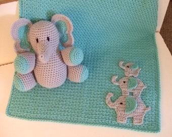 CROCHET PATTERN - CV154 Elephant Baby Blanket - Elephant Toy - Elephant Amigurami - PDF Download