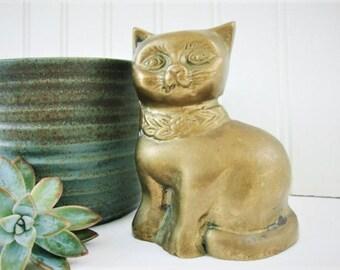 vintage brass cat figurine paperweight sitting metal kitty