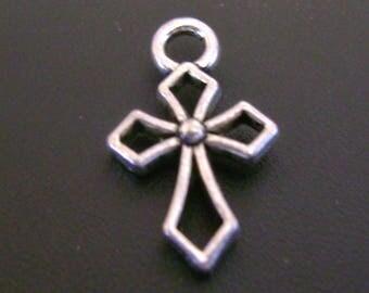 Geometric Style Silver Tone Cross Charm - Low Shipping
