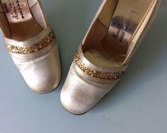 Glitter On Gold Mod Heels | 1960s