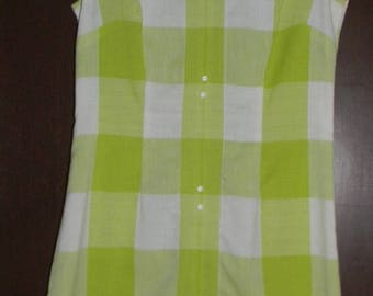 Close Out Sale Vintage Handmade Chartreuse and White Shift Dress