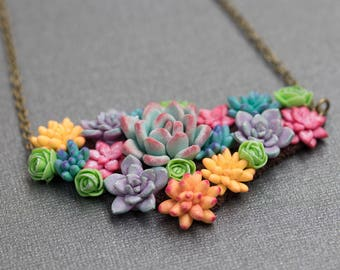 Succulent Necklace // Polymer Clay Art Jewelry