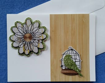 Handmade Greeting Card with Dimensional Birdcage and Flower, green glitter accents, blank card handmade card just because card