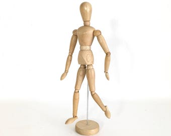 """Articulated Wood Artist's Drawing Mannequin 13"""" Moveable Model"""
