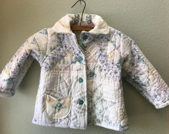 Little Girl Vintage Quilt Jacket, Quilt Coat, Vintage Quilt, Upcycled, Antique Linens, Kids Jacket OOAK  Size 3, Cyndy Love, Quilted Coat