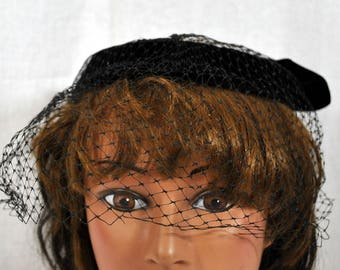 Vintage Black Velvet Hat  - Birdcage Veil on a Halo with Large Bow