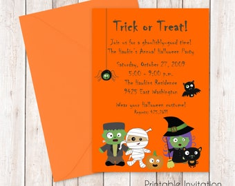 Printable Digital Halloween Party Invitation, Custom Wording, Print Yourself
