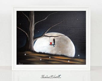 They Must Be Alone Here - LIMITED EDITION ART from original painting - Erback - Surrealism - Full Moon - Child - Giclee Canvas Prints - 8x10