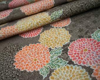 Dahlia Blossoms on Olive Green - Japanese Kimono Fabric - NEW