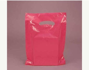 Summer Sale CLEARANCE sale 50 Pack Hot Pink Opaque Cut Out Handle 12 X 15 Inch Size Retail Merchandise Plastic Bags