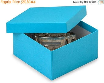 New Years Sale 100 Pack Matte Finish 100 Percent Recycled Tropical Blue 3.5 X 3.5 X 2 Inch  Size Cotton Filled Jewelry Presentation Gift Box