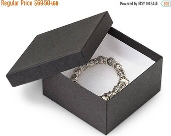 New Years Sale 100 Pack 3.5 X 3.5 X 2 Inch Matte Black Size Cotton Filled Jewelry Presentation Gift Boxes