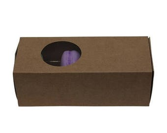 New Years Sale 5 Pc Pretty Kraft Cut Out Circle Window Front Macaron Boxes with Inserts 6 1/4 x 2 1/4 x 2 inches