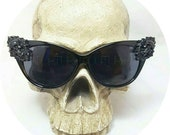 Lucretia Skull Portrait Baroque Cateye Sunglasses Retro, Gothic, Horror Scream Queen,Torture Couture, Scene, Club Kid, japan, candy