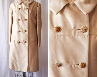 The Jackie | Vintage 1960's Shantung Jacket Shiny Creamy Beige 60s Dress Coat Camelot Era Double Breasted Pockets Saks Fifth Avenue Sz. M