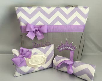 PRINCESS Crown ... Lavender Chevron  ... Diaper Bag Set ... Bottle Pockets ... Changing Pad ... Wipe Cover