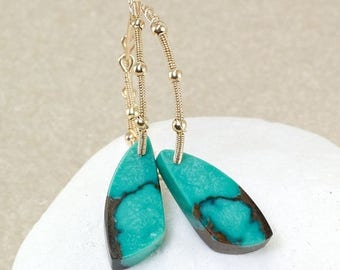 Summer SALE Turquoise, 14k Gold Filled hoops ... PEROUZE Earrings