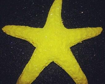 On SALE Yellow, starfish,starfish clip, , hair flower, hair clip, retro, tiki, tropical hair clip, hair acessory, pin up, mermaid, mermaid c