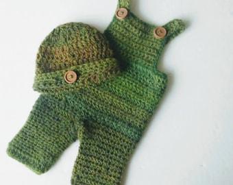 Newborn Overalls, Crochet Photo Prop