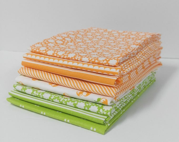 Featured listing image: Orange and Green Bonnie & Camille Fat Quarter Bundle - 8 FQ's