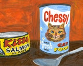 RESERVED. Kitty food.  Original oil painting by Vivienne Strauss.