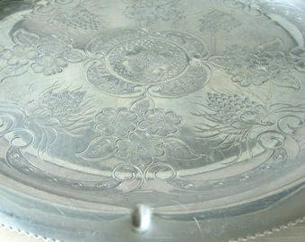 Large Round Aluminum Serving Tray Floral Motif