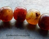 Vintage Bead, Faux Gemstone, Lucite Bead, Boho Bead, Barrel Bead, Sunset, Red Bead, Speckle Bead, Marble Bead, Unique Bead, 10 Beads